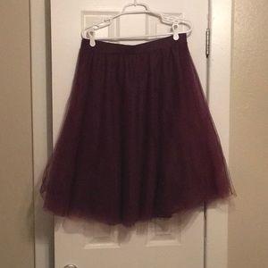 Burgundy tulle skirt